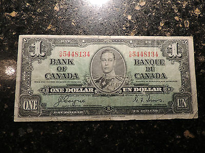 1937 BANK OF CANADA ONE DOLLAR $ 1 COYNE TOWERS BC-21d CHANGEOVER O/M 5448134