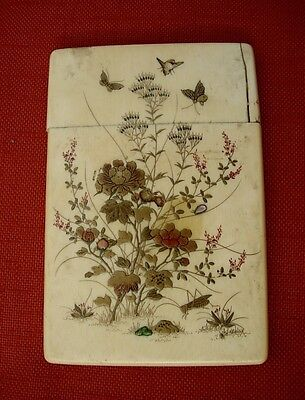 JAPANESE SHIBAYAMA Calling Card Case MEIJI PERIOD Birds Insects