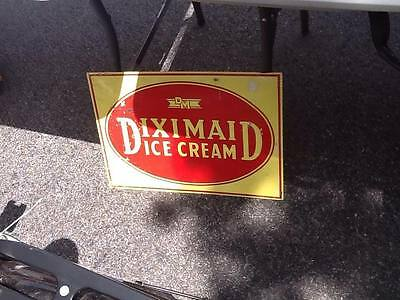 "Vintage Diximaid Metal Ice Cream Sign 24"" x 10"" New Old Stock"