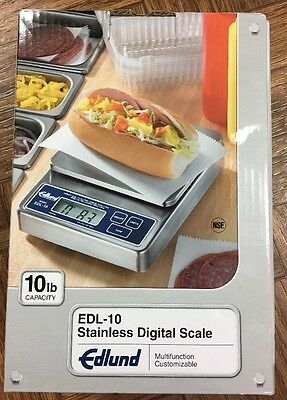 Edlund EDL-10 10lb x .1 oz Digital Portion Counter Top Scale w/ Rechargable New