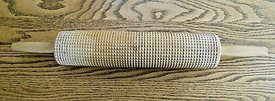 "Wood Textured Grooved rolling Pin W/  Handles Pastry Pasta 22""L 3"" Diameter"
