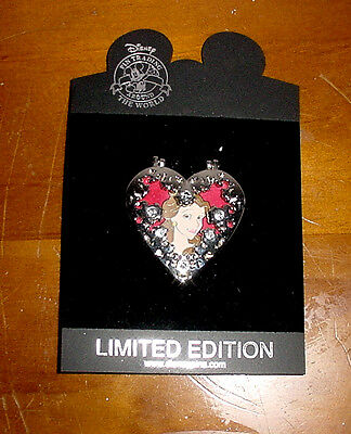 2008 Disney Beauty & the Beast Belle Hinged Heart Pin Limited Edition 300 LE