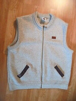 Bonzo Wool Vest-Men's L Full Zip--New Zealand Leather Trim, Beige Large
