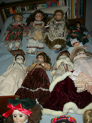 COLLECTION 15 PORCELAIN DOLLS. 40cm to 30cm.  GOOD CONDITION SOME DUSTY.