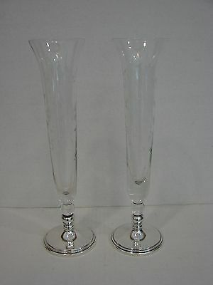 "Pair of  Sterling & Etched Crystal Bud 11"" Tall  Vases"