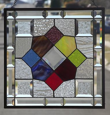 "**PATCHWORK**Beveled Stained Glass Window Panel -16 3/4"" - 16 3/4"" (43cm)"