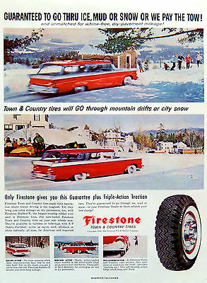 Vintage 1959 Firestone tires winter snow town country advertisement print ad