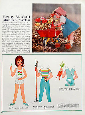Vintage 1962 Betsy McCall plants a garden original advertisement print ad