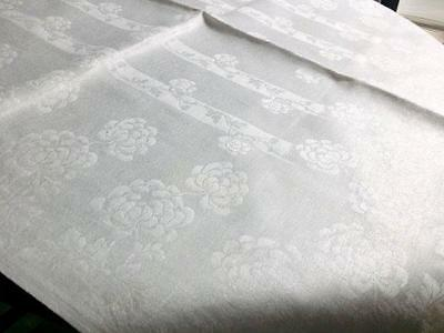 "6 Antique Irish Linen Napkins Floral Damask Mums Lace Corner ""T"" 20.5"" x 22"""