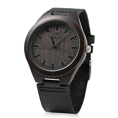 REDEAR Mens Quartz Bamboo Watch Wooden Leather Band Water Resistance Analog