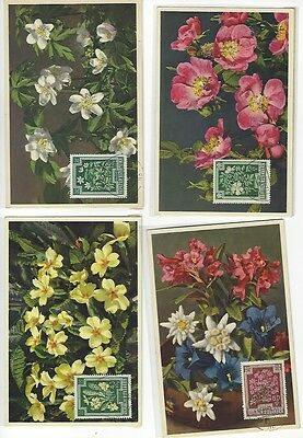 Austrian Flower Stamps And Post Cards