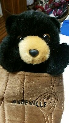 Aurora Black Bear in a Tree Log Hand Puppet New Asheville