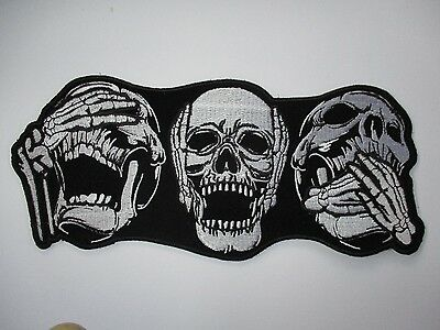 Hear no evil Skulls Small Patch - Sew/iron on rider biker motorcycle Men's shed