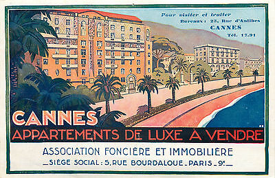 CANNES FRANCE - Unique & Artistic Two Sided Art Deco ADVERTISING Luggage Label