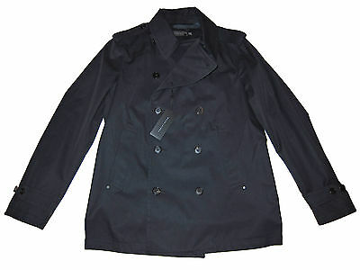 Black Label Ralph Lauren Navy Blue Double Breasted Trench Jacket Coat Large