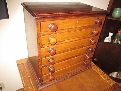 antique 6 Drawer mahogany Spool Cabinet   / watchmakers NICE PATINA