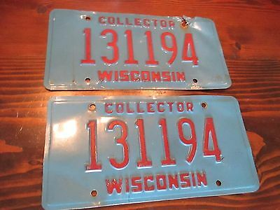 Pair of Wisconsin Collector License Plates