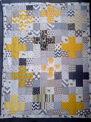 Yellow & Grey Cross Baby/cot Quilt With Low Volume -Handmade Patchwork Cotton
