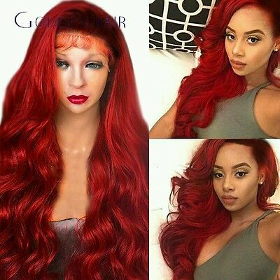 Full red wavy curly hair with dark root.   lace front wig.human hair blend
