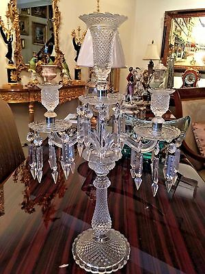 Pair of Antique Hand-Cut French 3-light Crystal Candelabra