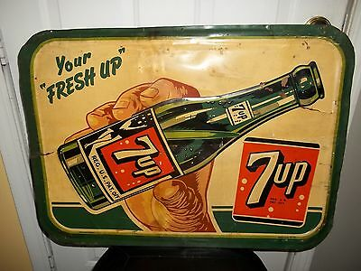 RARE 1940s 7UP SODA SIGN...HAND/BOTTLE...STOUT SIGN CO..12-47