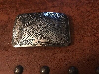 Navajo Native American Sterling Silver Belt Buckle Ornate Feathers