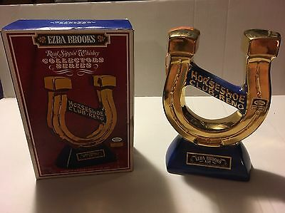 "1970 ""Horseshoe Club, Reno"" Ezra Brooks gold-plated decanter. Heritage China."