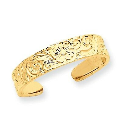 14k Yellow Gold Flower/Scroll Toe Ring