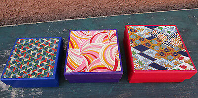 Set Of 3 Colorful Japanese Paper Decor Nesting Boxes Box Japan
