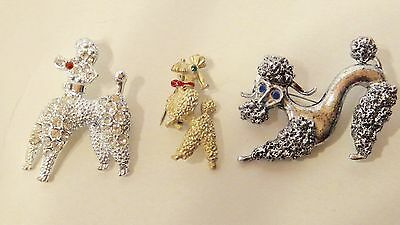 Lot of 3  Vintage Poodle Dog Pins Brooches
