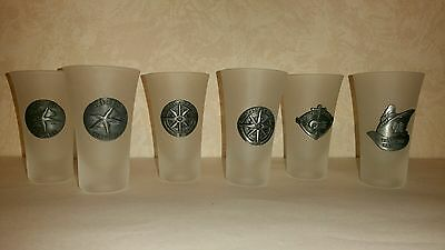 Princess Cruises Frosted Shot Glass Glasses Lot 6 Six Rare Htf Starfish Anchor
