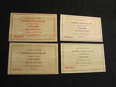 Lot of 4 1977 Hershey Coin Club Wooden Nickels 15th Annual Coin Show