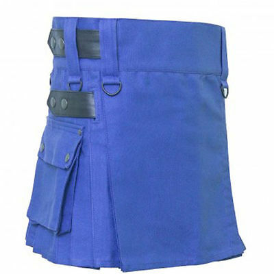 Ladies Scottish Professional Utility Kilt Custom Handmade Blue Cotton  Adult