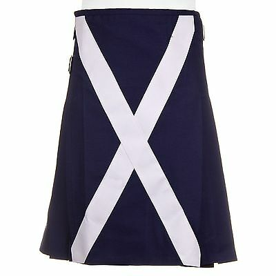 Men Scottish Flage Utility Kilt Custom Handmade 100% Blue Cotton  Adult Custom