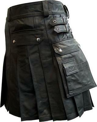Traditional Scottish Leather Utility Kilt Custom Handmade Black Unisex Adult