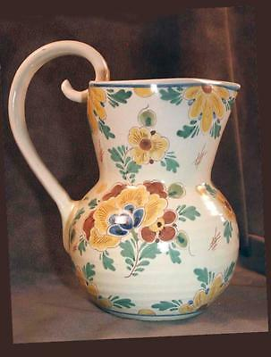 Vintage GOUDA Regina Holland Hand Painted Floral Pitcher Unusual Muted Colors