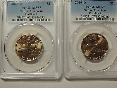 PCGS  2016 D MS67 Position  A & B Native American Sacagawea $1 Coin
