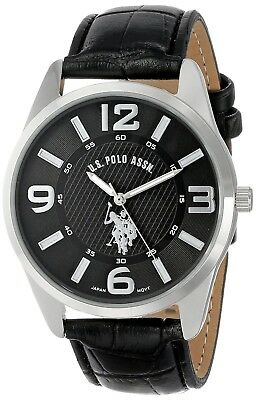 U.S. Polo Assn. Men's 3-hand Analogue Dial Leather Strap Watch - Black USC50010.
