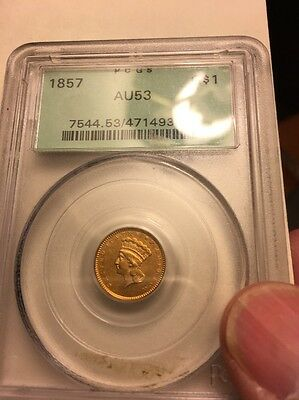 """1857 $1 Indian Princess Pioneer Gold Coin AU 53 PCGS """"GREEN HOLDER"""""""