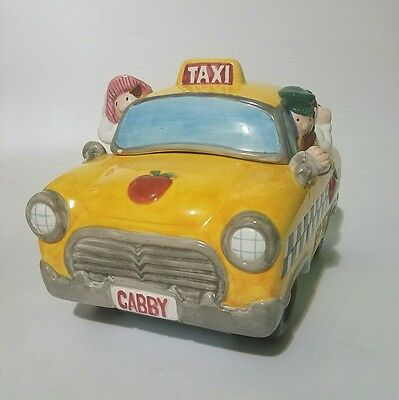 NY Taxi Checkerboard Cabby Cookie Jar Big Apple
