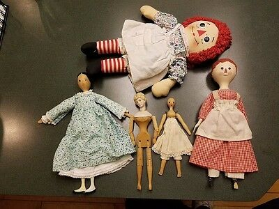 Lot of 4 Vintage Wood Dolls and Raggedy Ann