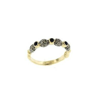 0.27 CT Genuine Diamond & Sapphire Band Ring In Solid 14KT Yellow Gold