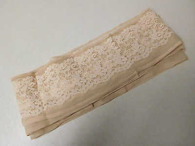 Antique Vintage Roll Light Pink Hem Trim Border Trim Sheer Lace