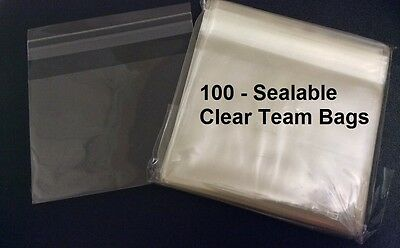100 Pack, Resealable Clear Team Bags for Trading Cards, 4 1/4 x 3 1/8 Inches,004