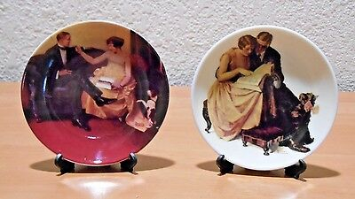 Norman Rockwell Miniature Plates Lot of 2 Including Plate Holders