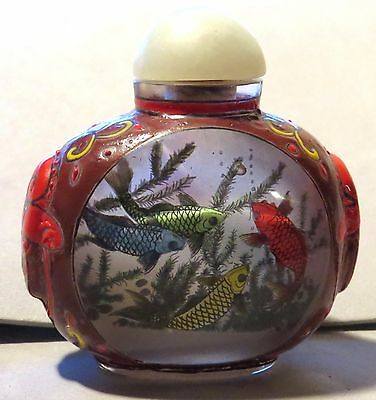 Antique Painted Chinese Bottle Koi Intarsia SIGNED Pre 1900 Snuff Guaranteed