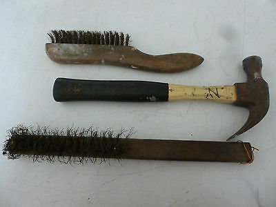 Vintage / Collectable, Fibreglass Handle Hammer And Two Wire Brushes.