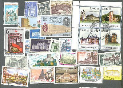 Castles on stamps 200 all different collection -( a few palaces-Houses)