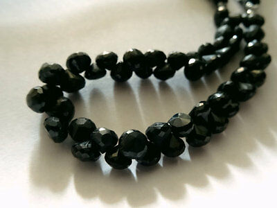 7mm Natural Black Spinel Briolette Faceted Onion 4 inch strand - AAA+