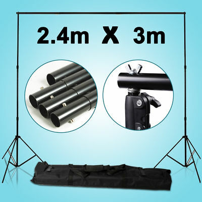 2.4x3M Photography Studio Backdrop Background Support Stand Kit Light Stand Set